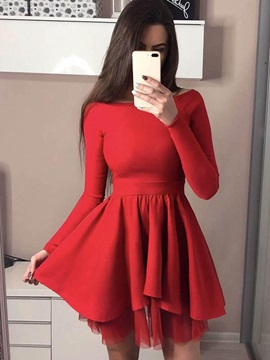 A-Line Long Sleeves Black Cocktail Dress 2019