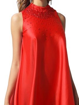 High Neck A-Line Beading Red Cocktail Dress 2020