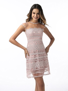Cap Sleeves Sheath Button Lace Cocktail Dress 2020