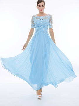 Scoop Neck Short Sleeves Beading Appliques Prom Dress & modest 10% off any 2 items- Events