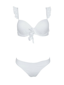 Plain Falbala Pleated Bikini Set