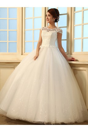 Gorgeous Ball Gown Floor Length Beading Sequins Scoop Lace Wedding Dress