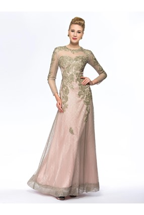 See-through Beaded Long Lace Mother of the Bride Dress with Sleeves