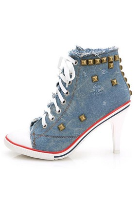 Denim Rivets Lace-Up Ankle Boots