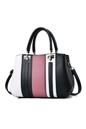 Elegant Patchwork PU Leather Satchel