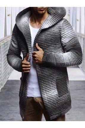 Hooded Mid-Length Pocket Gradient Casual Men's Sweater