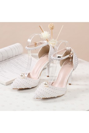 Line-Style Buckle Stiletto Heel Beads 9cm Thin Shoes