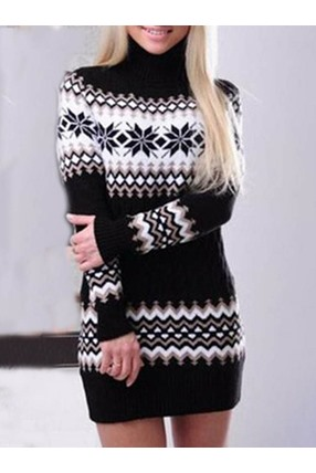 Christmas Print Turtleneck Long Sleeve Bodycon Date Night Going Out Women's Dress