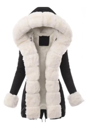 Thick Slim Patchwork Mid-Length Women's Cotton Padded Jacket