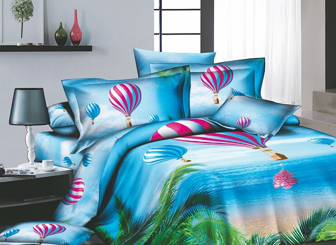 Cerulean Tropical beach Printed 4 Piece Cotton Bedding Sets with Colorful -air Balloon