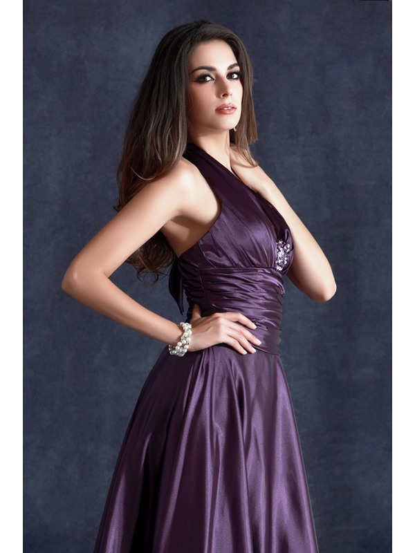 New Style A-Line Tea-Length Halter Neckline Beading Taline's Evening Dress