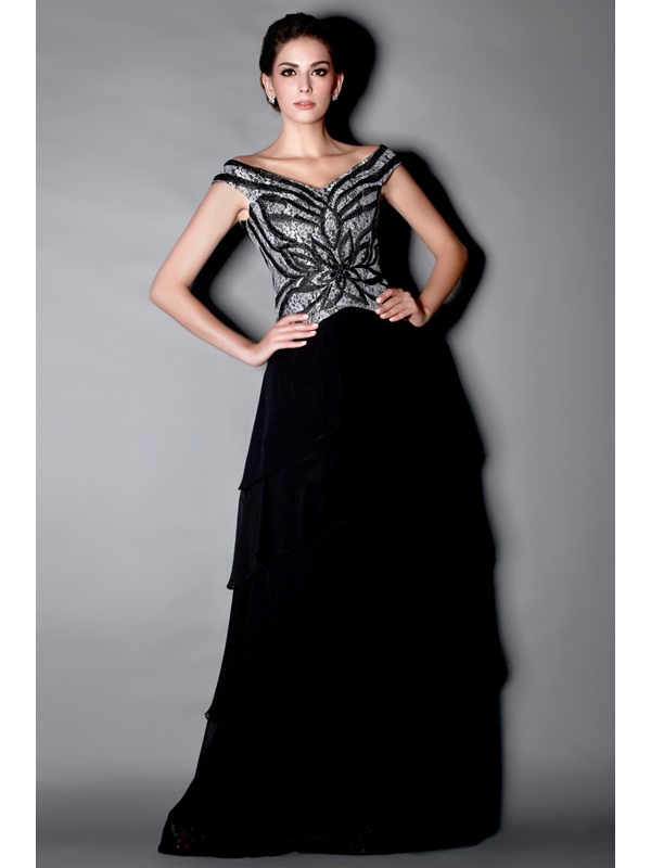 Marvelous Beaded/Sequins Tiered A-Line Off-the-Shoulder Floor-Length Taline's Mother of the Bride Dress