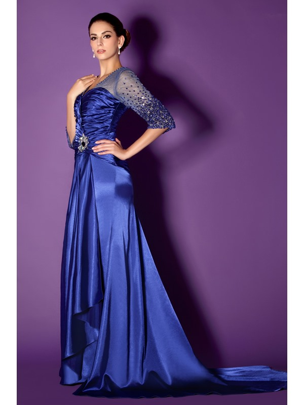 Beading 3/4-Length Sleeve Mother of the Bride Dress