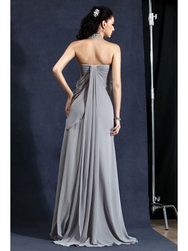 Elegant A-Line Halter Draped Beading Long Polina's Evening Dress
