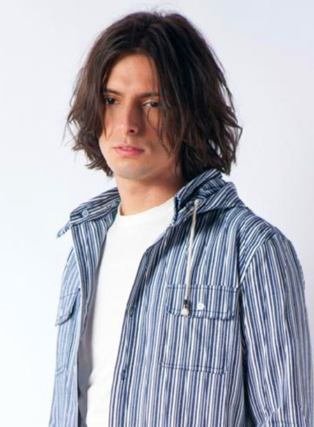 Sexy Man Hairstyle Medium Straight Full Lace Wig 100% Human Hair about 10 Inches (Free Shipping)