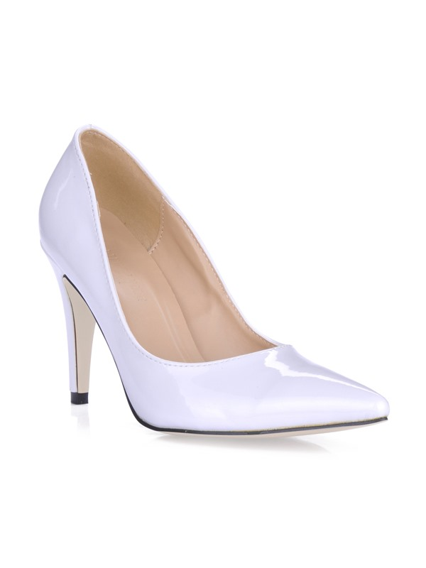 Pure White Patent Leather Stiletto Heels Closed Toe Prom/Evening Shoes