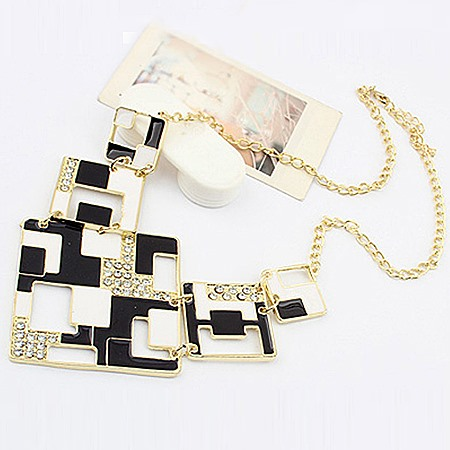 Chic Black and White Blocks Alloy With Rhinestone Lady's Fashion Necklaces
