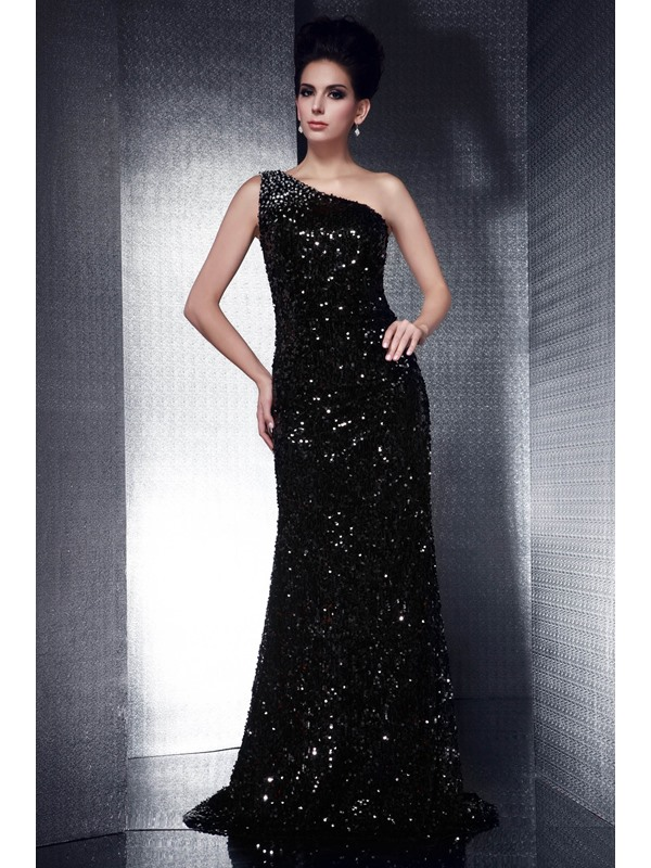 Brilliant Column Sequins&Beading One-Shoulder Floor-Length Taline's Evening Dress