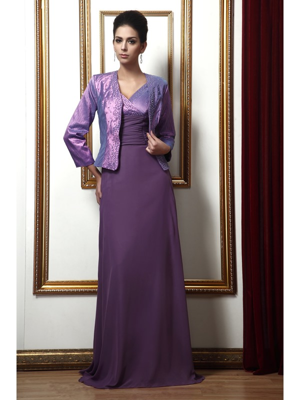 Attractive A-line V-neck Beading Long Taline's Mother of the Bride Dress With Jacket/Shawl