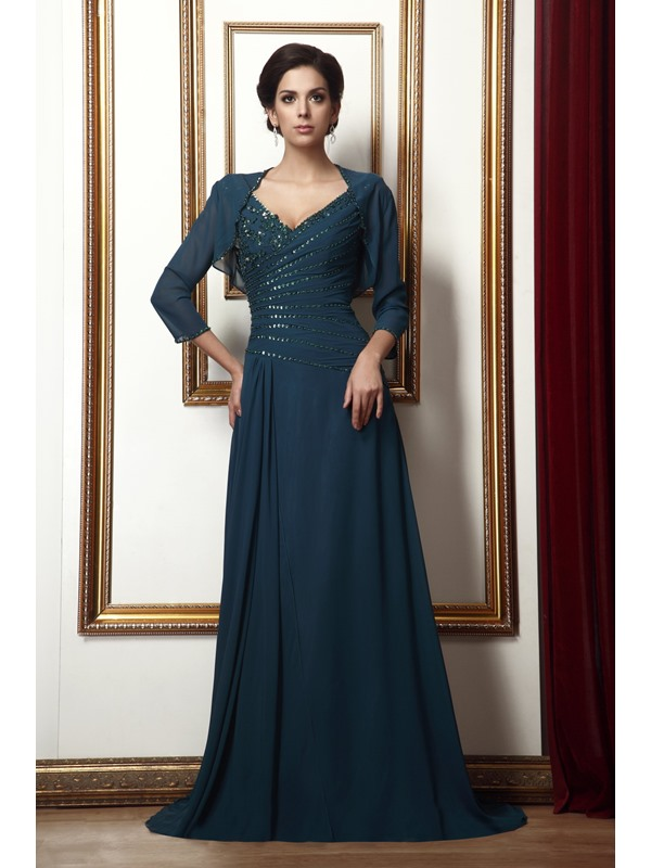 Marvelous Appliques Sequins A-Line Floor-Length V-Neck Taline's Mother of the Bride Dress With Jacket/Shawl