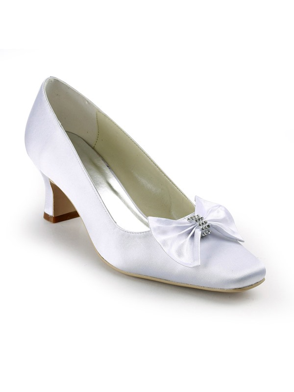 White Satin Upper Chunky Heels Closed-Toe Wedding Bridal Shoes