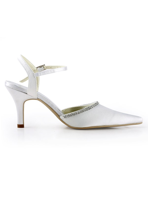 Bright White Satin Stiletto Heels Sling-back Wedding Bridal Shoes