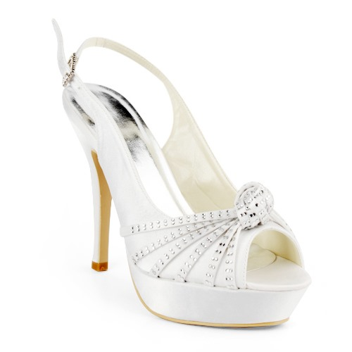 Sensual White Satin Stiletto Heels Sling-back Prom/Evening Shoes