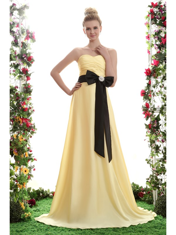 Elegant Sashes A-Line Strapless Bowknot Ruffles Floor-length Yana's Bridesmaid Dress