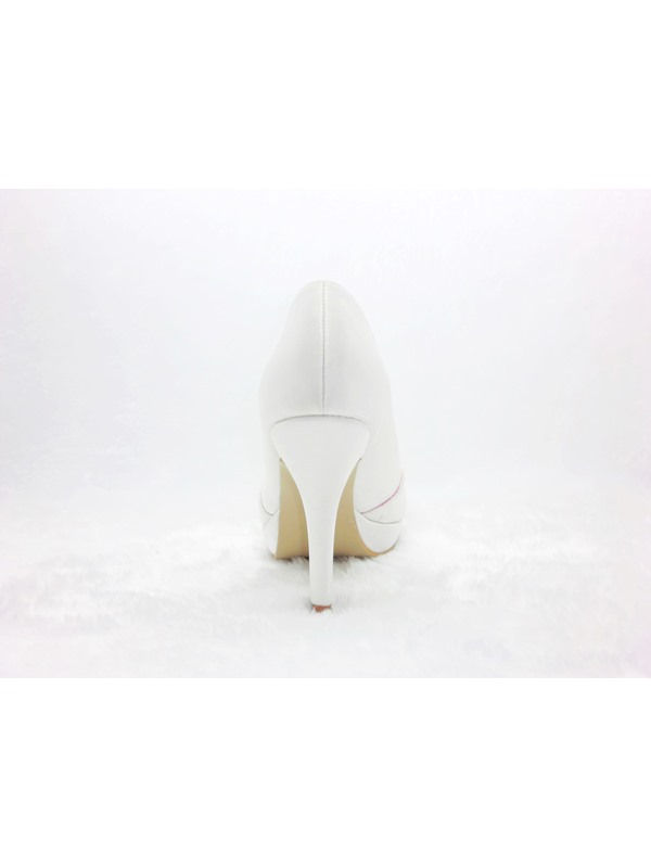 Popular Styles Satin Stiletto Heels Peep-toe Wedding Bridal Shoes