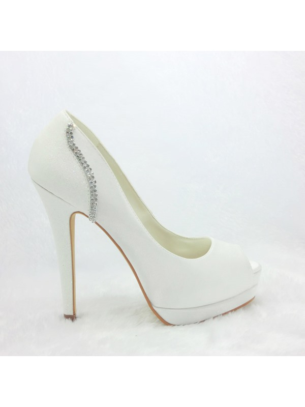 Charming Satin Stiletto Heels Peep Toe Wedding Bridal Shoes