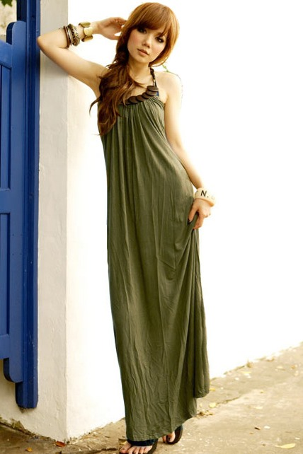 Top Quality Navy Style Loose Long Slim Pure Color Soft Dress