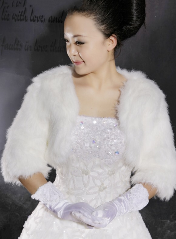 Brilliant Pure Faux Fur Half-sleeve Wedding Jacket/Wrap/shawl (More Colors)