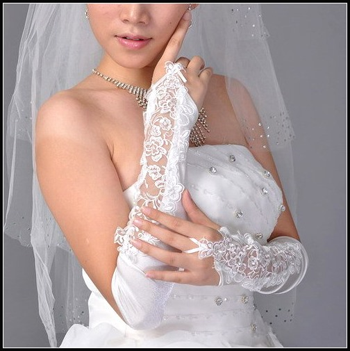 Long Fingerless Wedding Glove with Lace Appliques