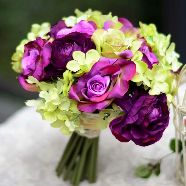 Stylish Sphere Shaped Purple Rose Wedding Bridal Bouquet