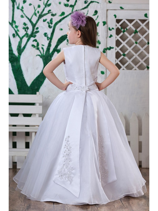Pure A-Line Round-neck Appliques Sashes Flower Girl Dress