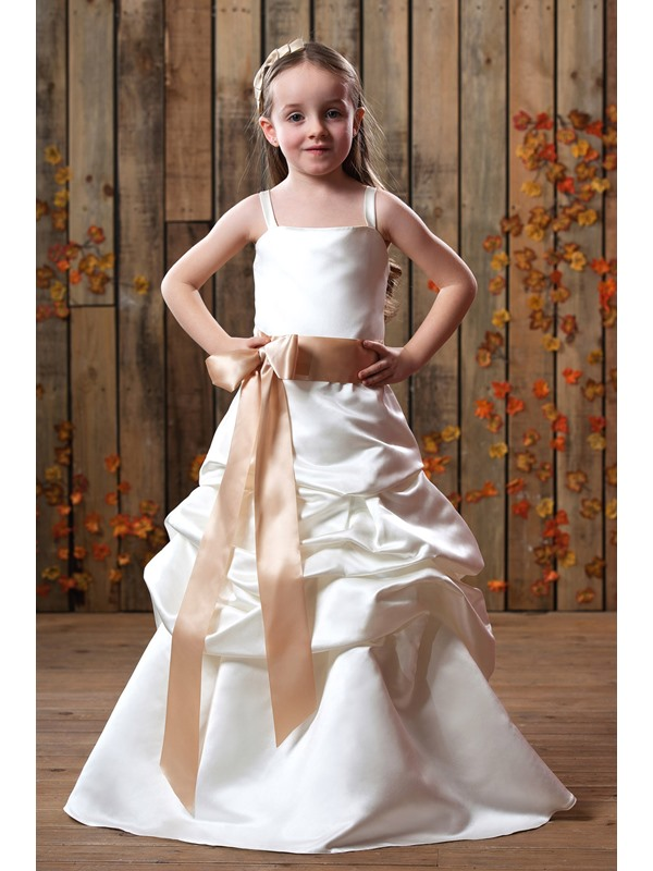 Beautiful A-line Floor-Length Halter Ruched Bowknot Flower Girl Dress