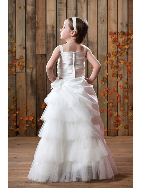 A-Line White Straps Flower Girl Dress