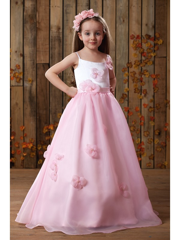 Cute Ball Gown Spaghetti Straps Floor-Length Flower Girl Dress