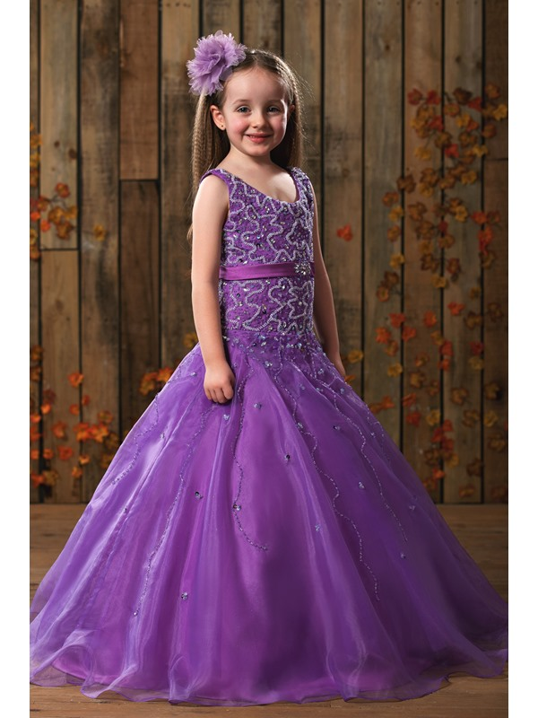 Luxury Scoop Neck Beaded Flower Girl Dress