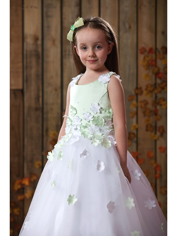 Dramatic Straps Appliques Tulle Flower Girl Dress
