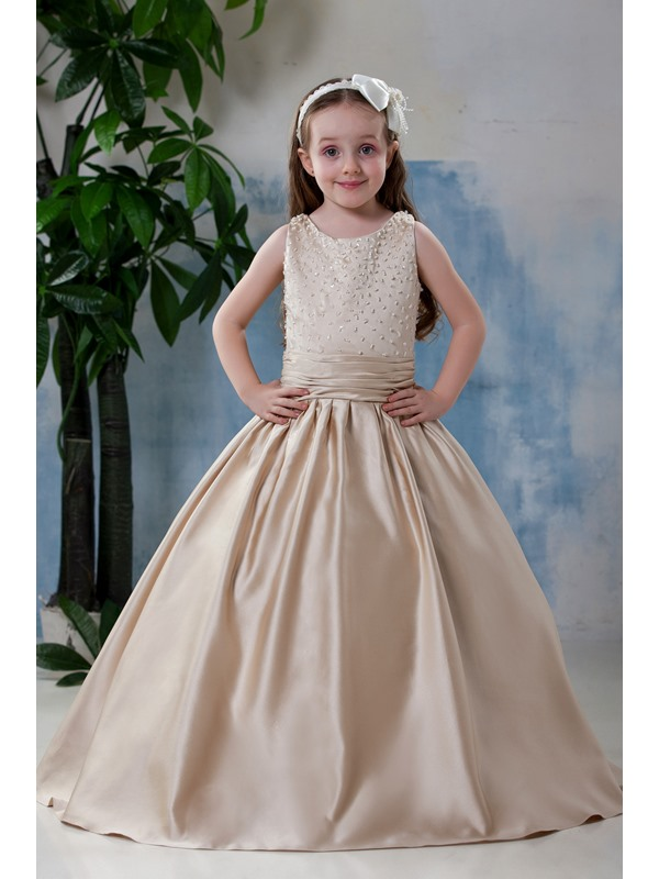 Excellent Scoop Knee-length Pleats Flower Girl Dress