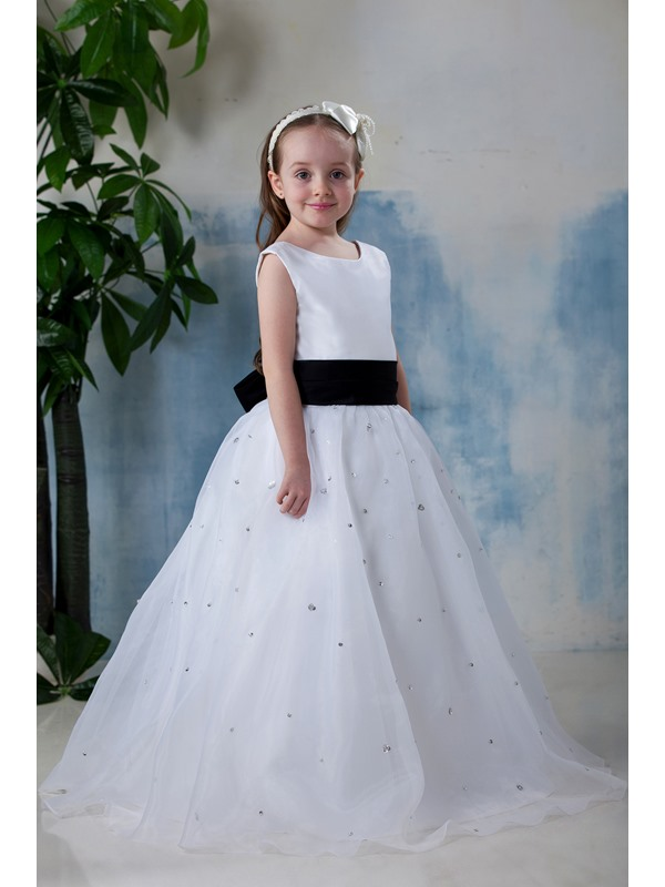Awesome Beautiful A-line Scoop Floor-length Appliques Flower Girl Dress