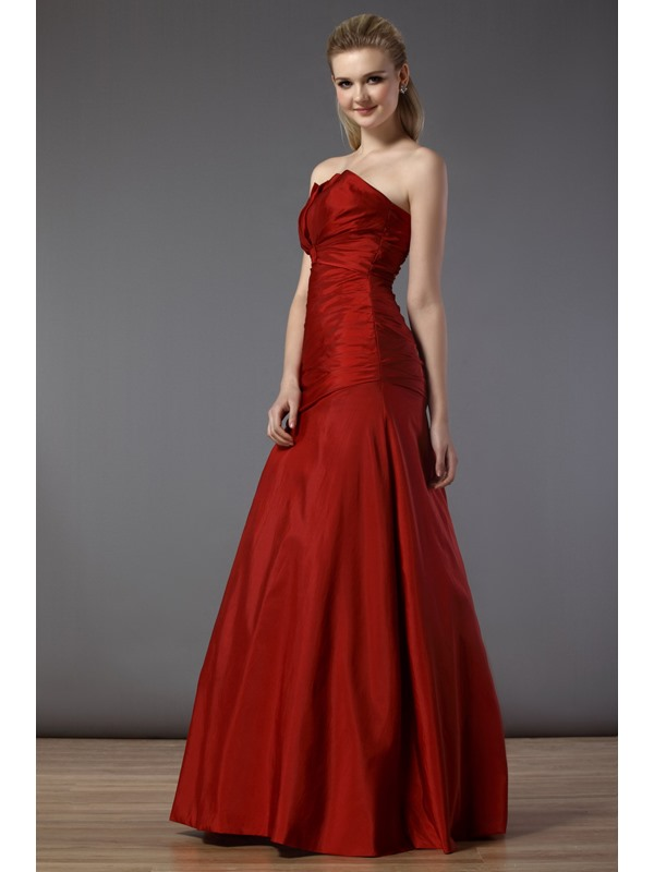 Exquisite Ruched A-Line Strapless Floor-Length Bridesmaid Dress