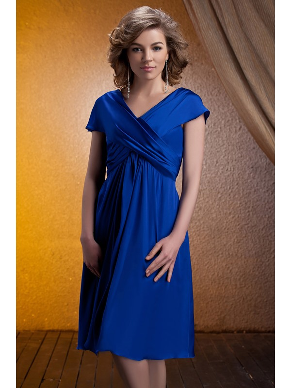 Fantastic Rcuhed A-Line V-Neck Tea-length Mother of the Bride Dress