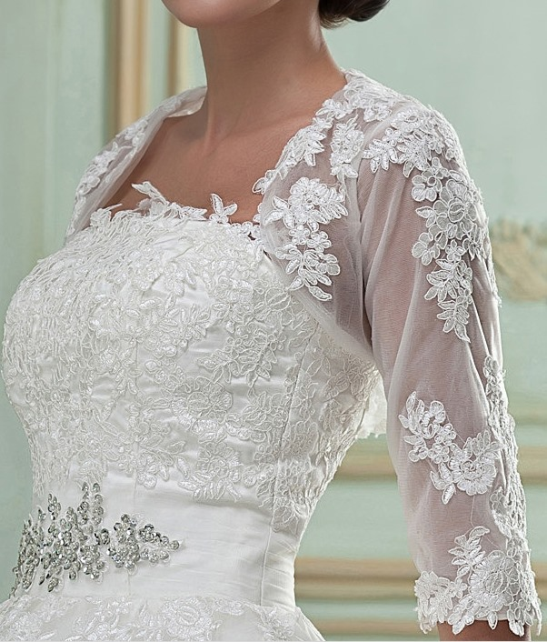 Exquisite 1/2 Sleeve Length Lace Wedding Jacket