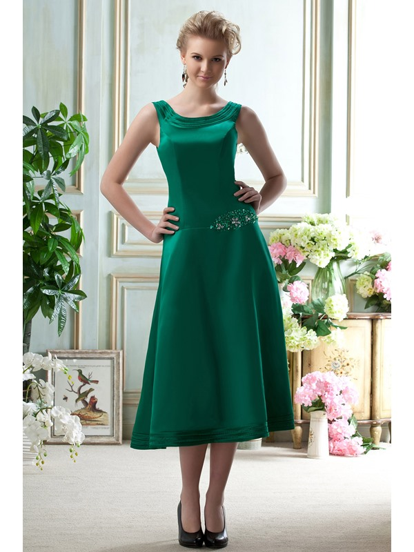 Elegant A-Line Scoop Neckline Tea-Length Beading Bridesmaid Dress