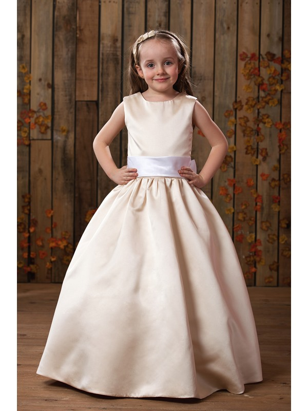Simple Straps Sashes Matte Flower Girl Dress