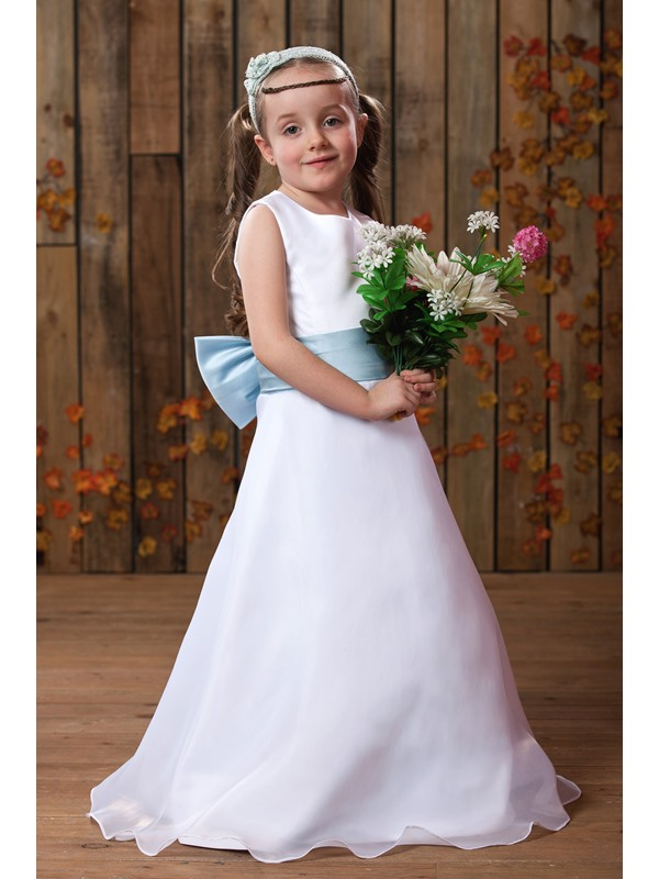 A-line Scoop Ankle-length Sash Flower Girl Dress