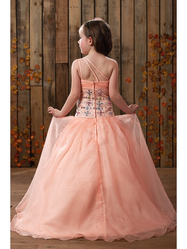 Ball Gown Floor-length One-shoulder Beading Flower Girl Dress