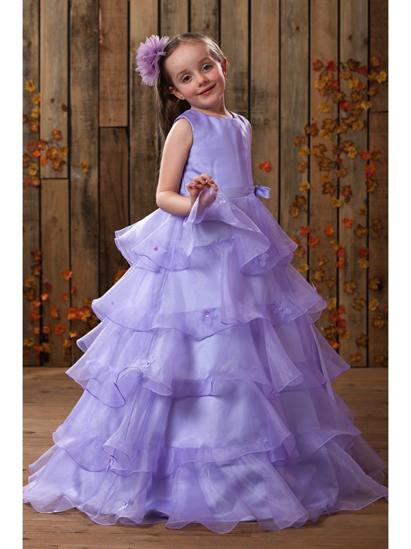 Fancy Straps Sashes Beading Tiered Flower Girl Dress